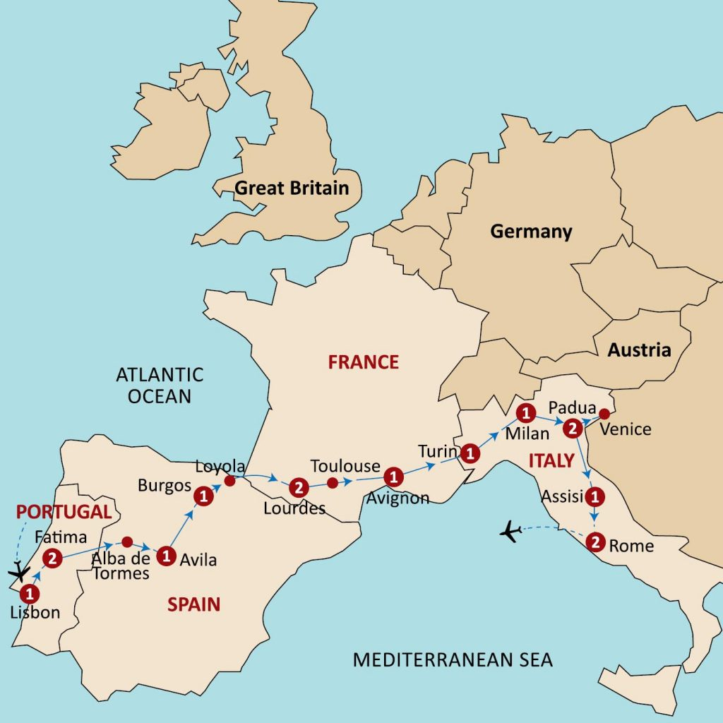 Pilgrimage to portugalspainfrance italy from australia magi tour map7 gumiabroncs Choice Image