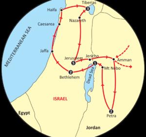 Map of Footprints of Jesus