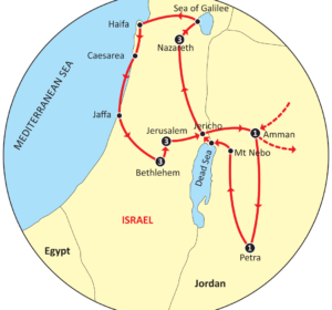 Map of Highlights of the Holy Land